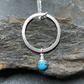 Silver Turquoise Ring Pendant, Turquoise Necklace