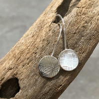 Silver Drop Earrings, Silver Disc Earrings