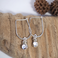 Recycled Silver Earrings, Hoop Pebble Earrings