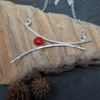 Arc Necklace, Carnelian necklace, Sterling silver