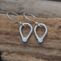 Silver dangle earrings, teardrop earrings, hammered silver