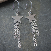 Shooting Star Silver Earrings, Star Jewellery
