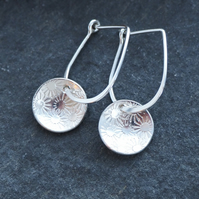 Silver earrings, daisy drop earrings, handmade arc jewellery, wedding jewellery