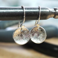 Sterling silver dangle earrings, daisy drop earrings