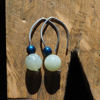 Carved Jade Silver Drop Earrings with Hematite