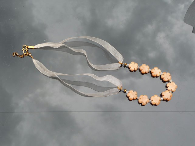 A Necklace using Quartzite flowers, Rutilated Quartz & Organza Ribbon
