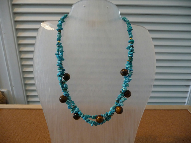 Lovely Necklace made with Tigers Eye & Turquoise Chips