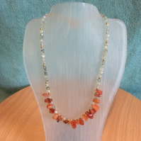 Carnelian & Prehnite Necklace