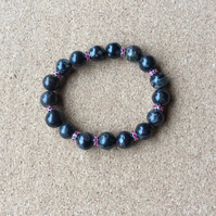 A Stretchy Bracelet made with Jasper & Pink Rhinestone Spacers