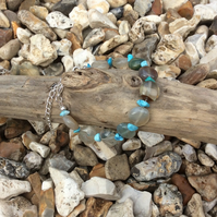 Bracelet made using Greenish Blue Agate Coins and Turquoise Chips