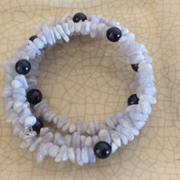 Memory Wire Bracelet made with Crazy Lace Agate and Glass Pearls