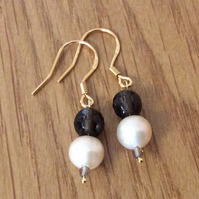 9ct Gold Plated Sterling Silver Pearl and Smokey Quartz Drop Earrings