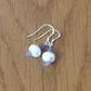 Sterling Silver White Cultured  Pearl and Tanzanite Drop Earrings