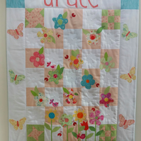 Custom Designed Made to Order Butterflies & Flowers Patchwork Quilt