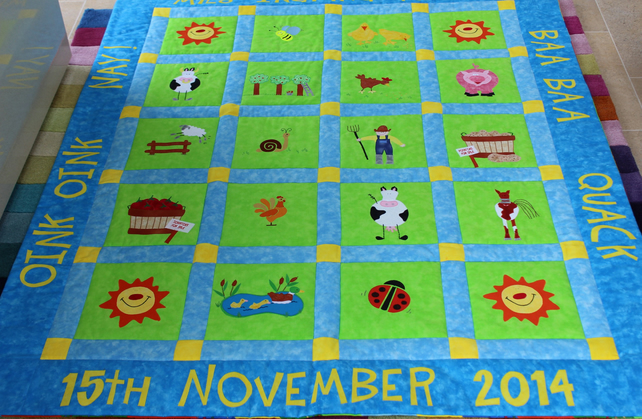 Custom Designed Made to Order Farm Animal Patchwork Quilt