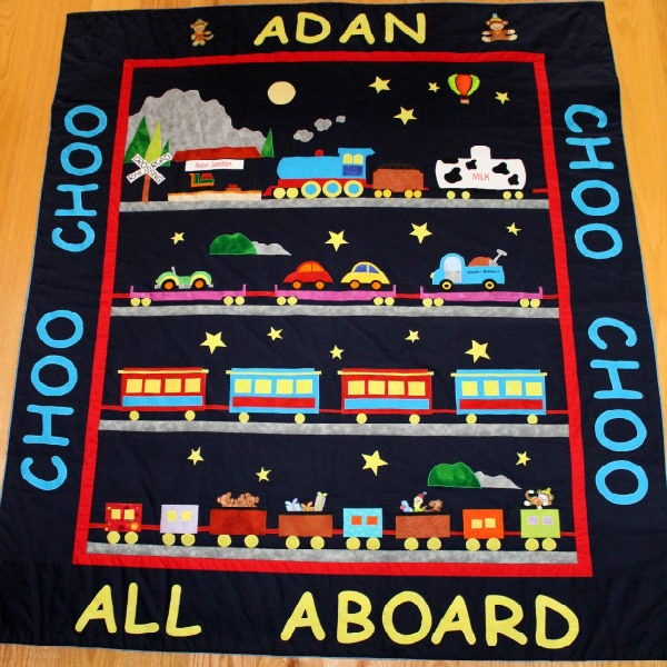 Custom Designed Made to Order Personalised Train Quilt