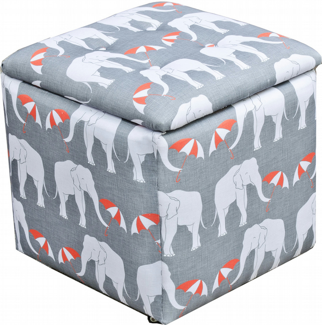 elephant print toy chest trunk storage box fo folksy. Black Bedroom Furniture Sets. Home Design Ideas