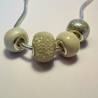 Set of 4 Handmade Silver White Beads - WH1