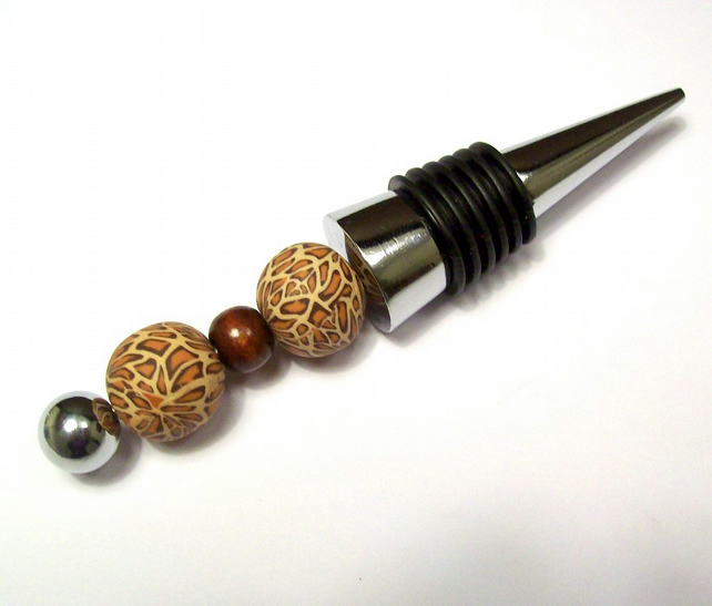 Unique Wine Stopper with Handmade Beads