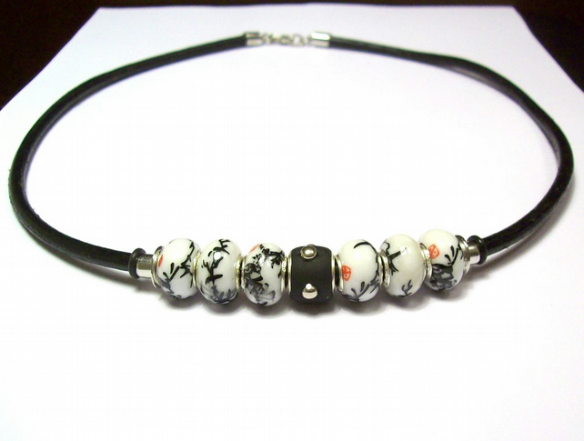 Unisex Beaded Necklace with Leather Cord