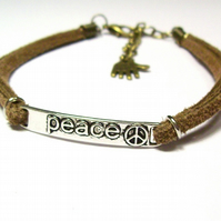Unisex Adjustable Brown Suede Peace Bracelet