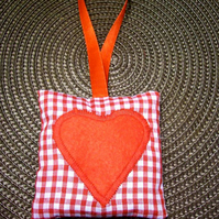 Red Gingham Catnip Cat Toy Heart