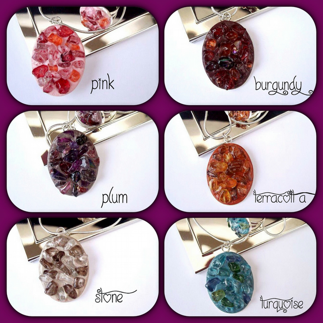 Faux Druzy Gemstone Encrusted Pendants with Matching Rings