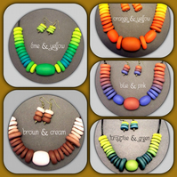 Handmade Disc Bead Necklace with Matching Earrings
