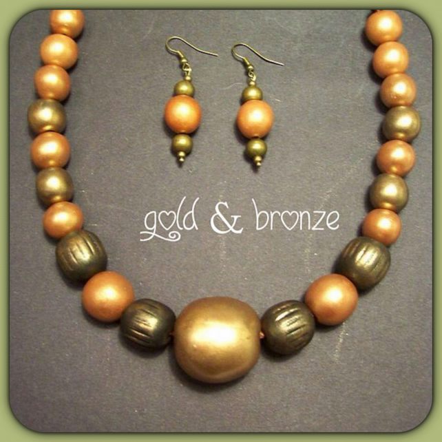 Bronze Chunky Bead Necklace with Matching Earrings Christmas Birthday Gift