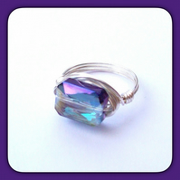 Handmade 'Twilight' Crystal Cut Silver Plated Ring Size N by Cool Creations