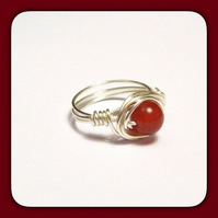 Handmade Red Jade Gemstone Wire Wrapped Ring in Size O