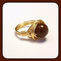 Brown Jasper & Gilt Wire Wrapped Ring