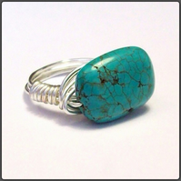 Handmade Turquoise Gemstone Chunky Ring in Size M by Cool Creations