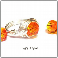 Handmade Swarovski 'Fire Opal' Faceted Crystal Wire Wrapped Ring Size L