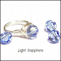 Handmade Swarovski 'Light Sapphire' Faceted Crystal Wire Wrapped Ring Size K