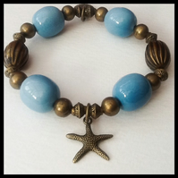 Turquoise & Bronze Stretchy Bracelet Gift Boxed Birthday Christmas Gift