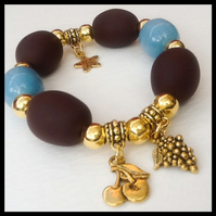 Brown Turquoise & Gold Stretchy Bracelet Gift Boxed Birthday Christmas Gift