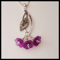 50% OFF - Silver Pendant Necklace with Purple Flowers