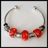Red Silver Plated Beaded Bangle