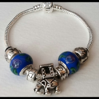 Blue Silver Plated Snake Chain Charm Bracelet Gift Boxed Birthday Christmas