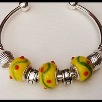 Yellow Silver Plated Bangle with Pretty Lampwork Beads
