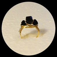 Handmade Grade AAA Black Crystal Cube Gold Plated Ring in Size M