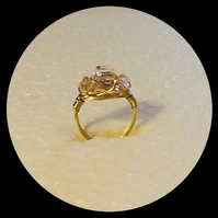 Handmade Grade AAA Pink Crystal Cube Gold Plated Ring in Size M