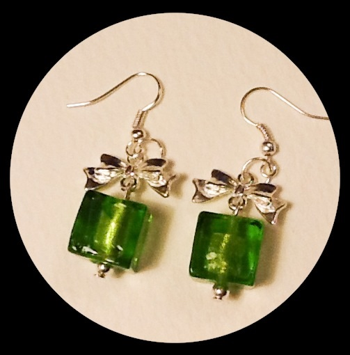 Green 'GIFT PARCEL' Silver Plated Earrings