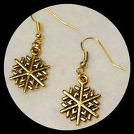 Gold Plated Snowflake Earrings