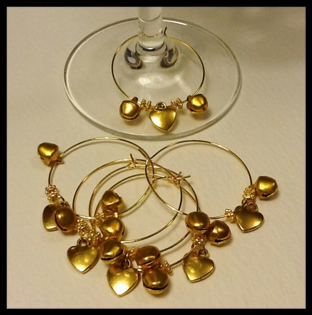 Set of 6 Golden Wine Glass Charms