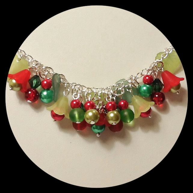 Red & Green Cluster Fun Necklace Whimsical Gift Boxed Birthday Christmas Gift