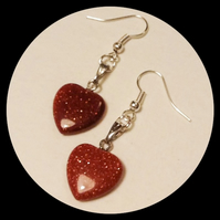 Brown Goldstone Gemstone Heart Earrings