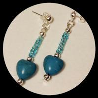 Gemstone Heart Earrings