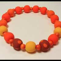 Tangerine Chunky Stretchy Choker Necklace